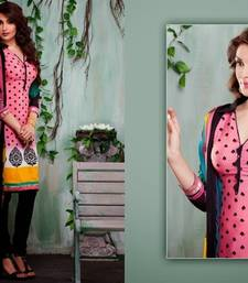 Buy Trendy Pink & Black Embroidered Crape Dressmaterial dress-material online