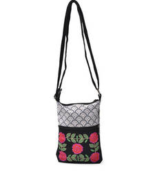 Buy Black and white Emb. small sling Bag online