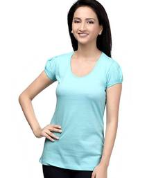 Buy Casual round neck : Light Blue top online