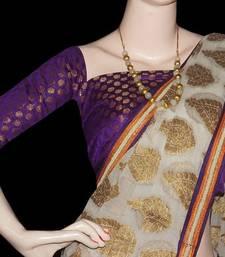 Buy Creamy white banaras saree with blouse banarasi-saree online