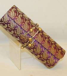 Buy Purple Kaju  Brocade material Design Dhol Clutch Bag clutch online