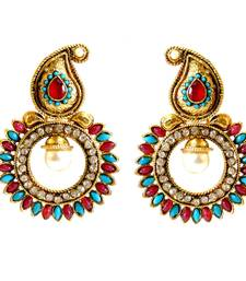 Buy Red Turquoise Paisely Round Stone Earrings danglers-drop online