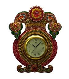 Buy Kundan Studded Wall Clock with Kalash Design wall-clock online