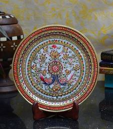 Buy Vibrant Floral Decorative Marble Plate with Wooden Stand decorative-plate online