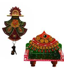 Buy Combo of Pankhi Key Holder and Royal Throne for Mandir(Temple) wall-art online