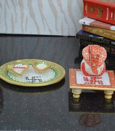 Buy Combo of Lord Ganesha Marble chowki and Pooja Thali sculpture online