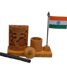 Buy Wooden Rupee Design Pen Stand with National Flag engineers-day-gift online