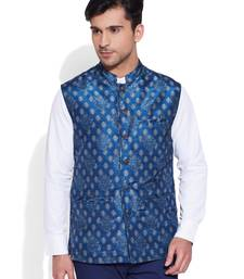 Buy blue printed stitched nehru jacket nehru-jacket online