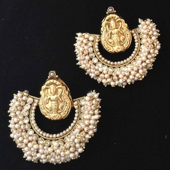 Chandni pearl Golden Lakshmi hoop India ethnic copper jewellery earring