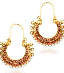 Pearl golden finish ethnic rani pink bali hoop indian vintage ethnic jewelry earring mz1r shop online