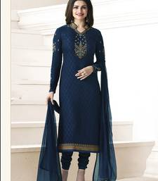 Buy Navy blue embroidered georgette salwar with dupatta black-friday-deal-sale online