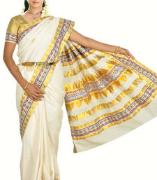 Buy Kasavu cream saree with brocade lace works with blouse south-indian-saree online
