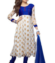 New Arrival White and Blue Georgette Anarkali Suit shop online
