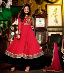 Madhubala Bollywood Style Red Colour Row Silk with Faux Georgette Salwar Kameez By Fabfiza