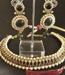 Buy Beaded Maroon & Green colour Necklace with Long Dangling Green colour Earrings party-jewellery online