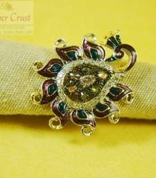 Buy Peacock CZ Polki Meena Cocktail Ring Ring online