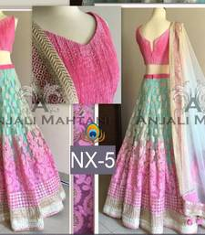 Buy Multicolor embroidered net semi stitched lehenga choli bollywood-lehenga online