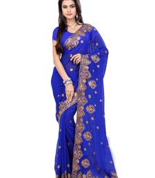 Buy Blue Color Faux Georgette Saree With Blouse party-wear-saree online