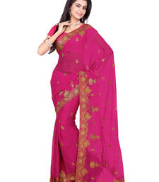 Buy Rani Pink Color Faux Georgette Saree With Blouse party-wear-saree online