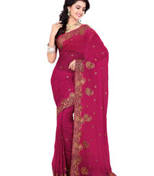 Buy Magenta Color Faux Georgette Saree With Blouse party-wear-saree online