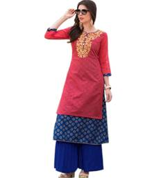 Buy Peach embroidered chanderi long-kurtis long-kurti online