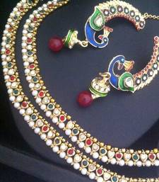 Buy India Combo: Maroon green pearl payal anklet & peacock jumki earring A258 anklet online