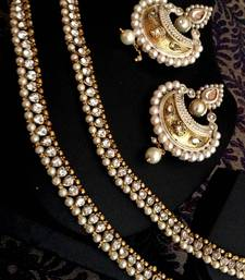 Buy Combo: White diamentes pearl payal anklet & pearl meenakari India earring cbd73 jewellery-combo online