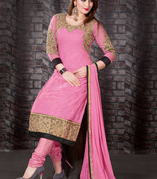 Gleaming Pink Polyster Georgette Dress shop online