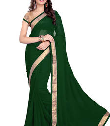 Green Faux Georgette Embroidered Saree With Blouse shop online