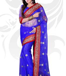 Buy Blue Net Embroidered Saree With Blouse supernet-saree online