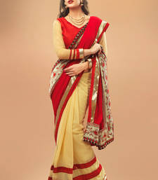 Beige and Red Chiffon Saree Comprising Border work with Red Blouse Piece shop online