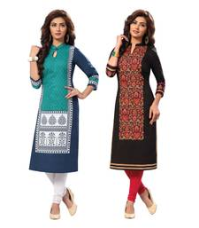 Buy Multicolor printed cotton unstitched kurtas-and-kurtis combo-kurti online