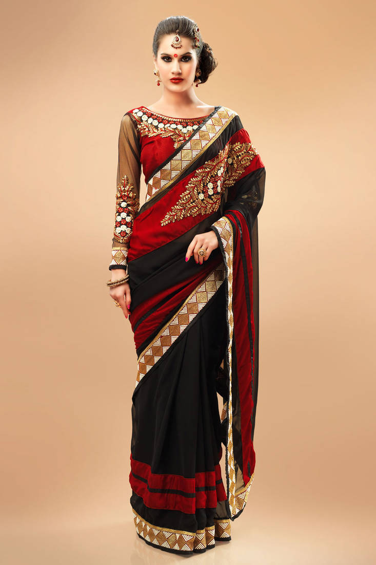 Buy Amazing Black And Maroon Georgette Saree With Maroon