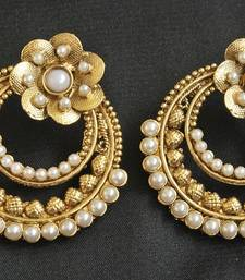 Buy Gold Plated Floral Pearl Earrings hoop online