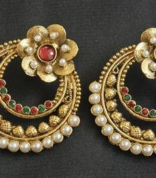 Gold Plated Floral Maroon & Green Earrings shop online