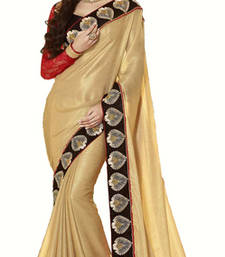 Buy Cream Silk with Embroidery Thread work Border Concept Satin Silk saree satin-saree online