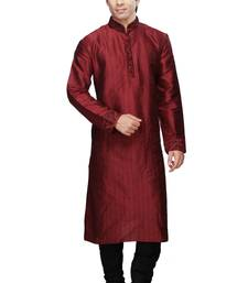 Buy Red plain kurta pyjama self design silk blend kurta-pajama online
