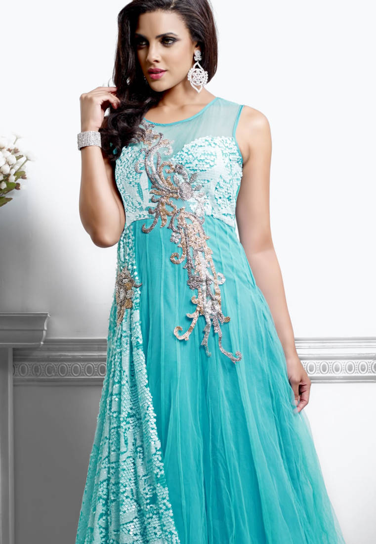 Buy Unique Sky Blue Color Designer Long Gown Type Anarkali