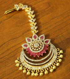 Buy Ruby Diamond Look Pearl Wedding Maang Tikka maang-tikka online