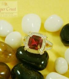 Buy CZ Ruby Square Finger Ring  size-9 Ring online