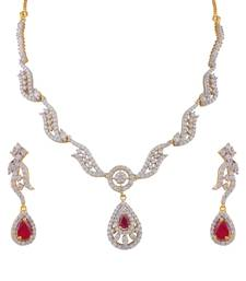 Buy Heena Contemporary collection Glossy Red Stone Necklace set >> HJNL163R << party-jewellery online