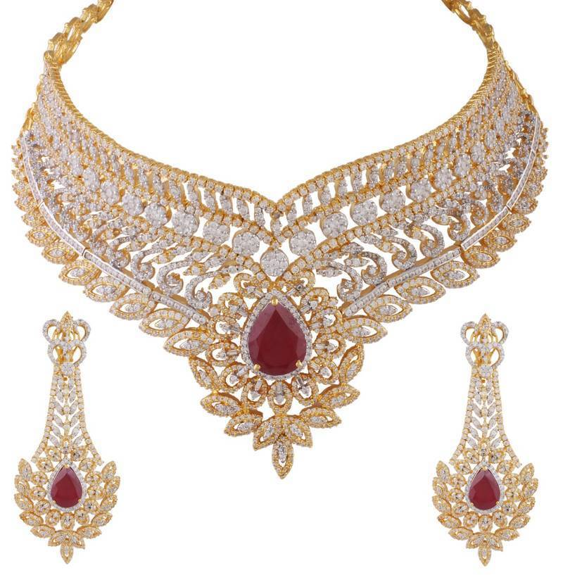 Bridal Collection Jewellery: Buy Heena Bridal Collection Glossy Red Stone Chokar