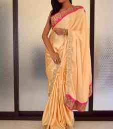 Buy Light Gold Satin Saree satin-saree online