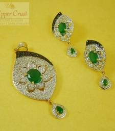 Buy Zircon Jade Pendent Earring Jewellery Set Pendant online