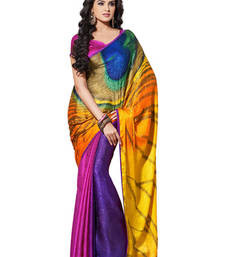 Buy Peacock Feather Digital Printed crepe jacquard  Golden With Pink Designer Sarees crepe-saree online
