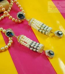 Buy Pearl Iolite Blue Zircone Jhumki Jhumka Style Earrings jhumka online