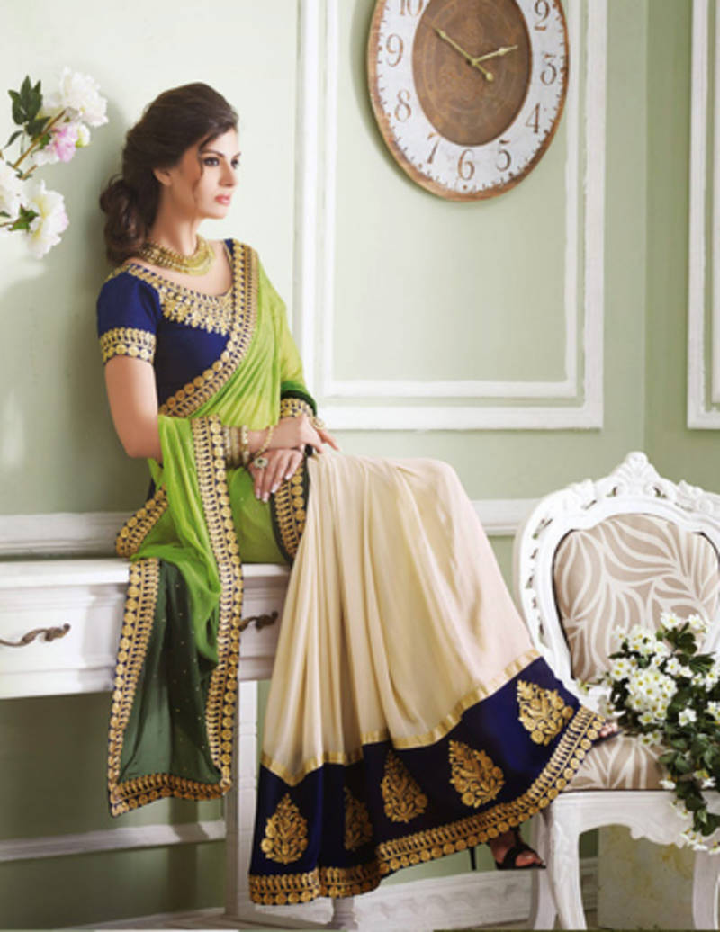 Buy Mehandi Chikoo Color Patch Work Viscose Georgette Designer Saree With Blouse Online