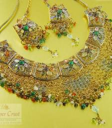 Buy Multi Polki Bridal Choker Necklace Tikka Set necklace-set online