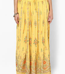 Buy Yellow Embroidered Cotton Long Skirt skirt online