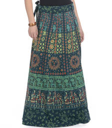 Buy Green Cotton Printed Wrap Around Long Skirt navratri-skirt online